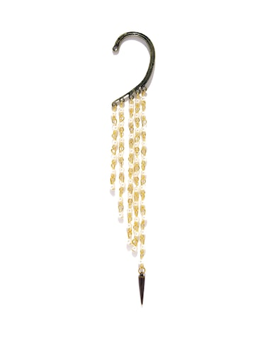Golden Peacock Antique Gold-Plated Tasseled Ear Cuff at myntra