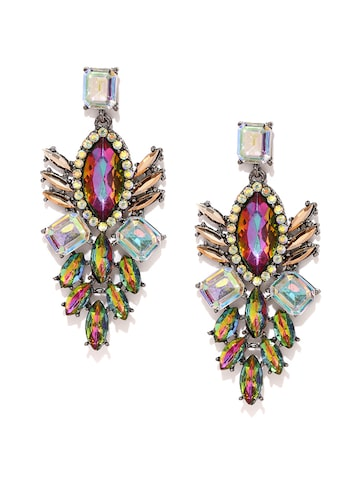 Golden Peacock Multicoloured Embellished Drop Earring at myntra