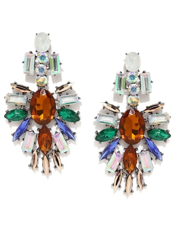 Golden Peacock Multicoloured Silver-Plated Embellished Drop Earrings at myntra