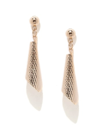 Golden Peacock Gold-Plated Cone-Shaped Drop Earring at myntra
