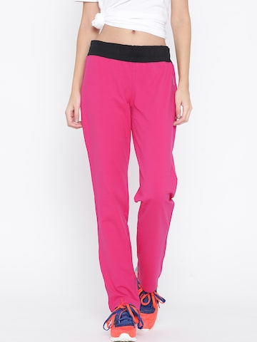 Reebok Pink Core Slim Fit Training Track Pants at myntra