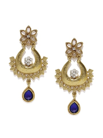 Fida Gold-Toned & Blue Embellished Drop Earrings at myntra
