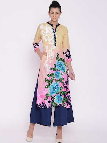 Shree Women Beige & Pink Printed Straight Kurta at myntra