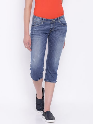 U.S. Polo Assn. Women Blue Denim Capris at myntra