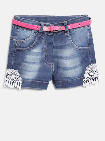 612 league Girls Blue Washed Denim Shorts at myntra