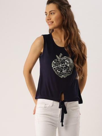 DressBerry Women Navy Printed T-shirt at myntra