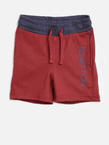 United Colors of Benetton Boys Maroon Solid Shorts at myntra