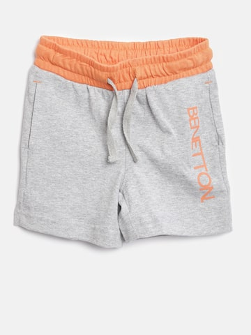 United Colors of Benetton Boys Grey Melange Solid Shorts at myntra