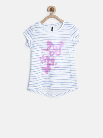 United Colors of Benetton Girls White Striped Round Neck T-shirt at myntra