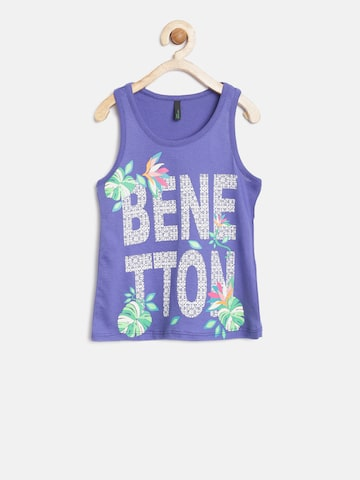 United Colors of Benetton Girls Blue Printed Tank Top at myntra
