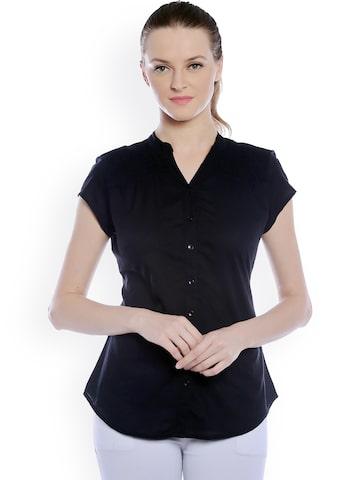 Bombay High Black Slim Fit Solid Shirt at myntra