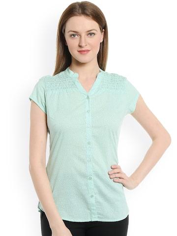 Bombay High Women Green Polka Dot Print Slim Fit Shirt at myntra