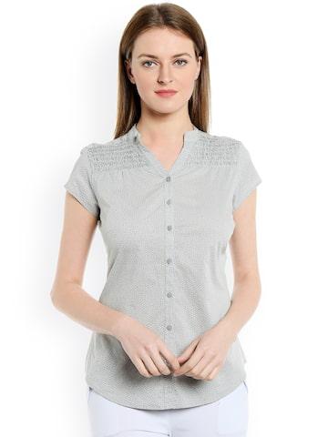 Bombay High Women Grey Solid Slim Fit Shirt at myntra