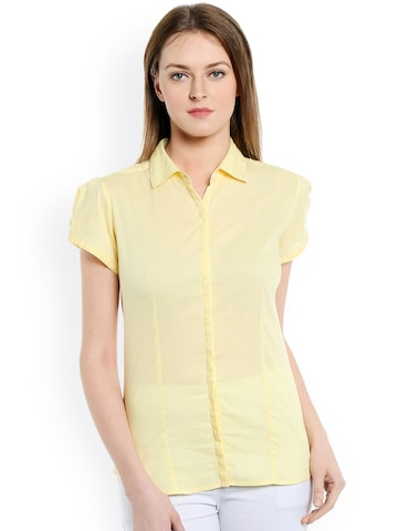 Bombay High Women Yellow Solid Slim Fit Shirt at myntra
