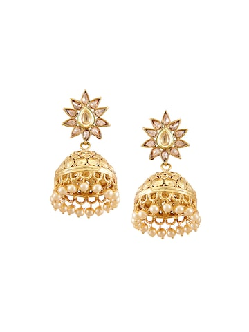 Sia Art Jewellery Gold-Plated Embellished Jhumka Earrings at myntra