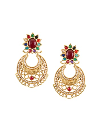 Sia Art Jewellery Gold-Plated Studded Chandbalis at myntra