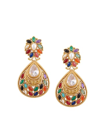 Sia Art Jewellery Gold-Plated Multicoloured Embellished Drop Earrings at myntra