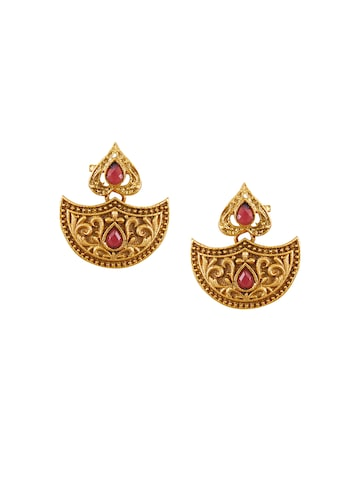 Sia Art Jewellery Gold-Plated Drop Earrings at myntra