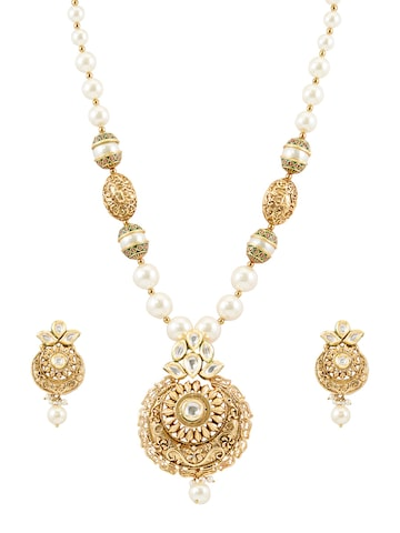 Sia Art Jewellery Gold-Toned Kundan Studded Jewellery Set at myntra