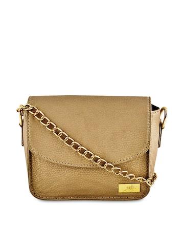 yelloe Gold-Toned Sling Bag at myntra