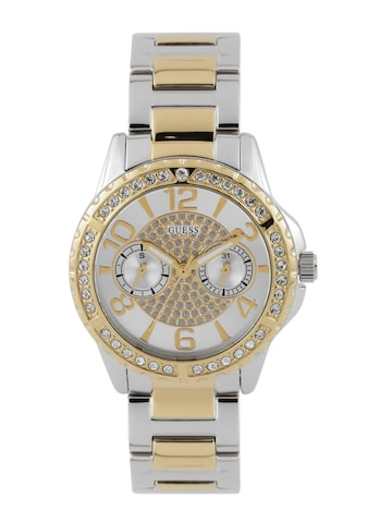 GUESS Women Silver-Toned Multifunction Watch W0705L4-2 at myntra