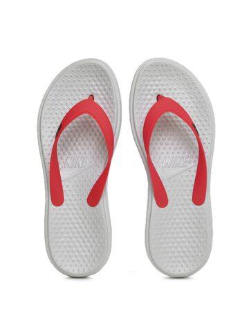 Nike Men Red & Grey Printed SOLAY Flip-Flops at myntra