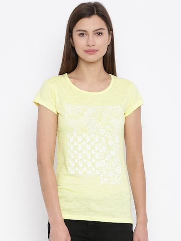 Lee Cooper Yellow Printed T-Shirt at myntra