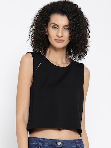 United Colors of Benetton Women Black Crop Top at myntra