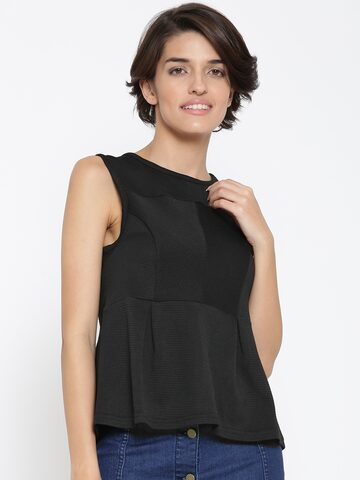 United Colors of Benetton Women Black Self-Striped Peplum Top at myntra