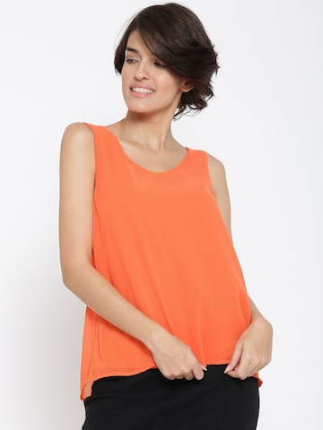 United Colors of Benetton Women Orange Styled Back Top at myntra