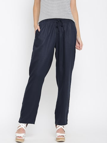 United Colors of Benetton Women Navy Casual Trousers at myntra