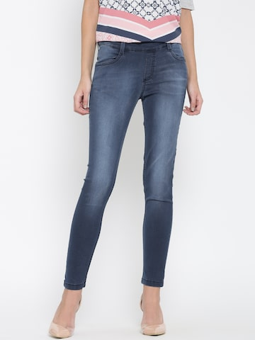 United Colors of Benetton Blue Washed Denim Jeggings at myntra