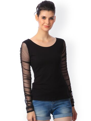 Cation Black Top at myntra