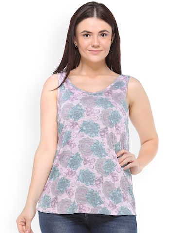 plusS Women Pink Printed Round Neck T-shirt at myntra