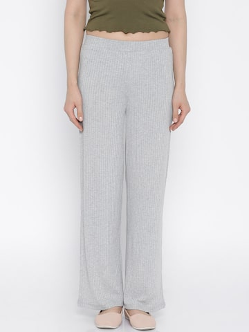 Vero Moda Women Grey Melange Self-Design Trousers at myntra