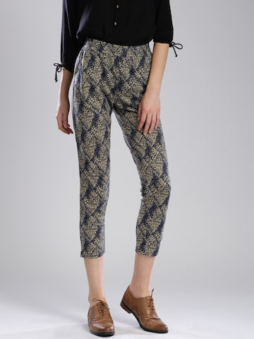 Bossini Navy Printed Trousers at myntra