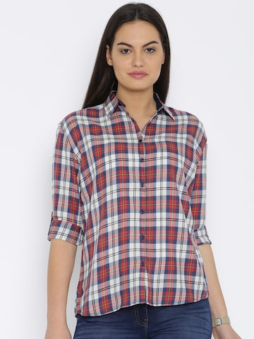 Flying Machine Women Red & Navy Regular Fit Checked Casual Shirt at myntra