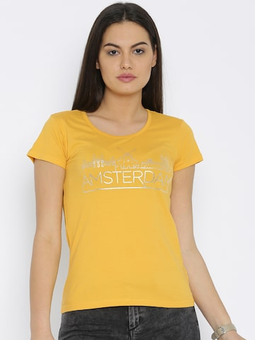 Flying Machine Women Yellow Printed T-shirt at myntra