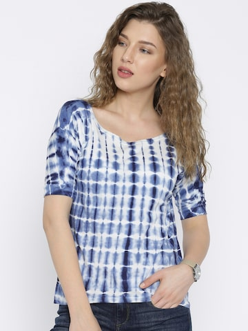 Flying Machine Women Blue Dyed T-shirt at myntra