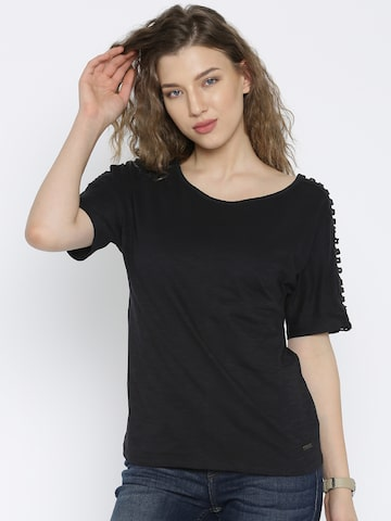 Flying Machine Women Black Solid T-shirt at myntra