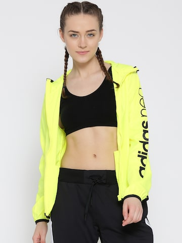 Adidas NEO Fluorescent Yellow CE WB Printed Hooded Windcheater Jacket at myntra
