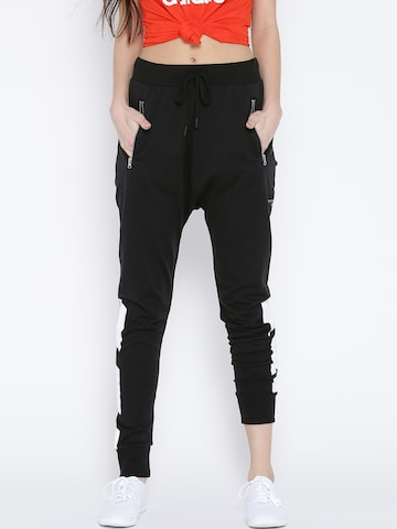 Adidas Originals Black Low Crotch Printed Detail Track Pants at myntra