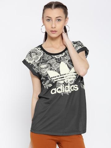 Adidas Originals Women Charcoal Grey FLORIDO Printed Round Neck T-shirt at myntra