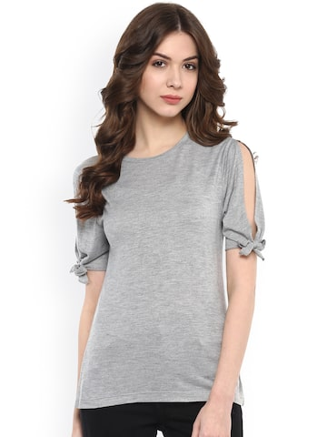 Harpa Grey Top with Tie-Up Detail at myntra