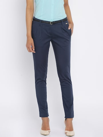 Park Avenue Women Navy Solid Chinos at myntra