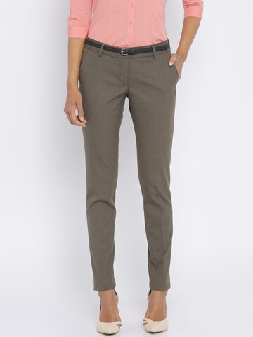 Park Avenue Brown Solid Tapered Fit Formal Trousers at myntra