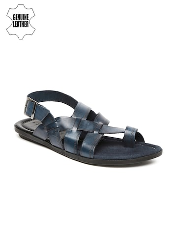 Ruosh Smart Casual Men Navy Genuine Leather Sandals at myntra