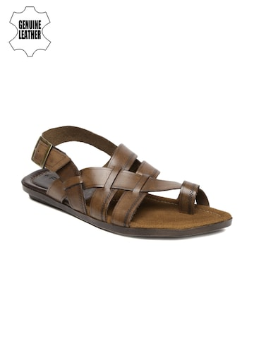 Ruosh Smart Casual Men Brown Genuine Leather Sandals at myntra
