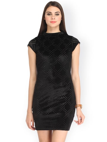 Cation Women Black Velvet Sheath Dress with Cut-Out Detail at myntra