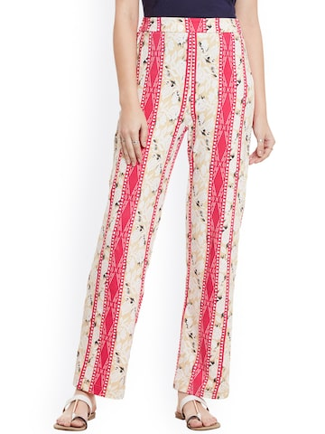 Cherymoya Beige & Pink Striped & Printed Parallel Trousers at myntra